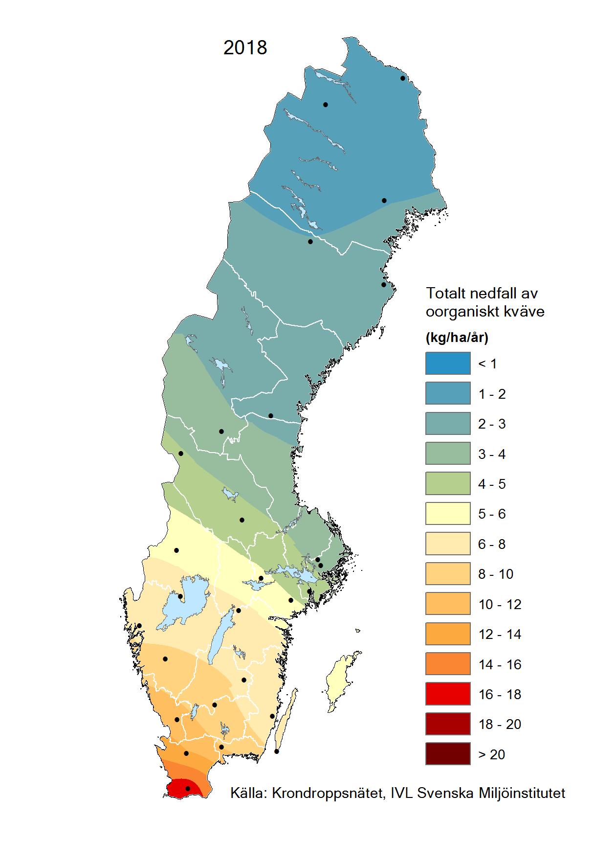 Totalt nedfall av oorganiskt kväve till barrskog 2018