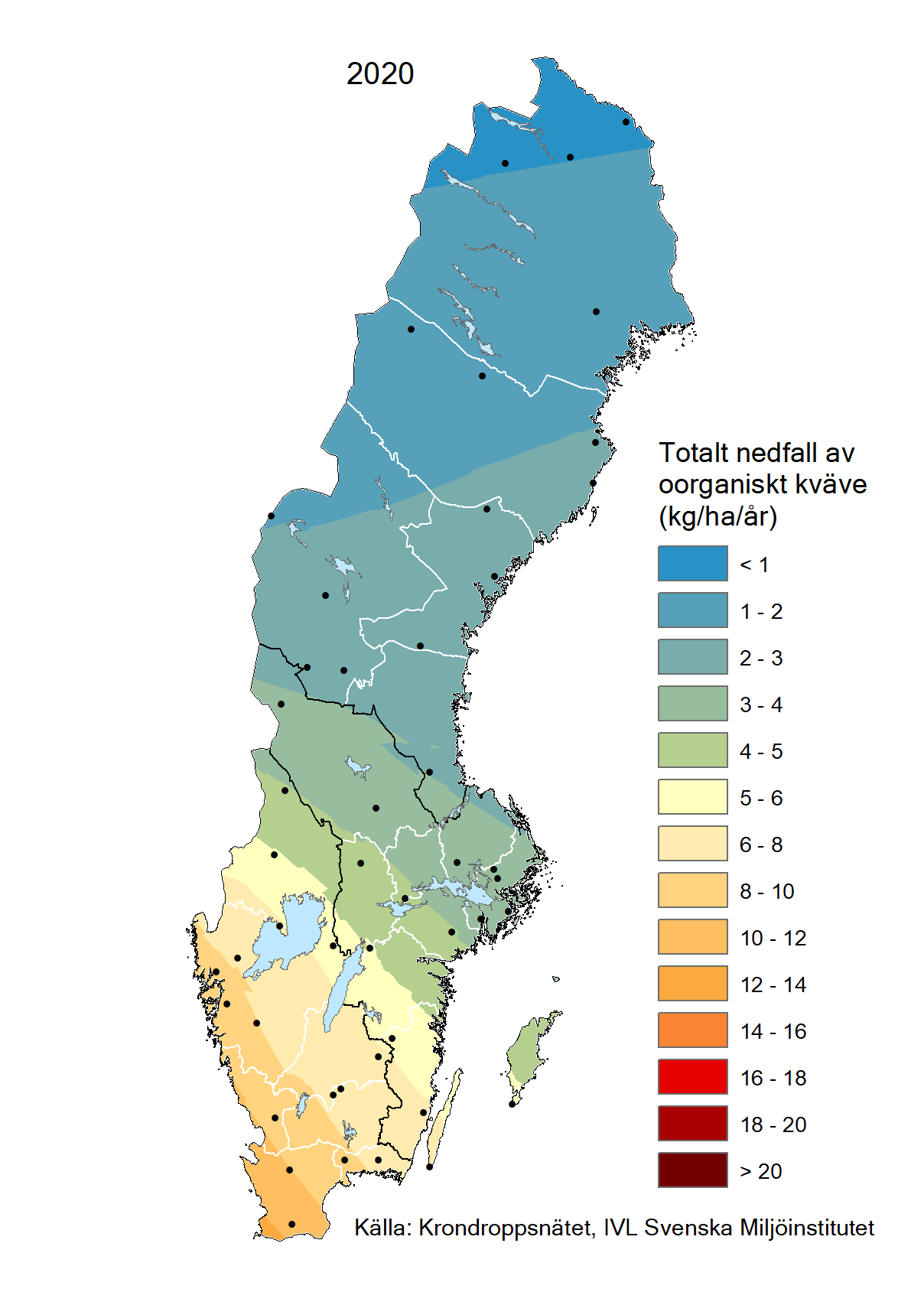 Totalt nedfall av oorganiskt kväve till barrskog 2020
