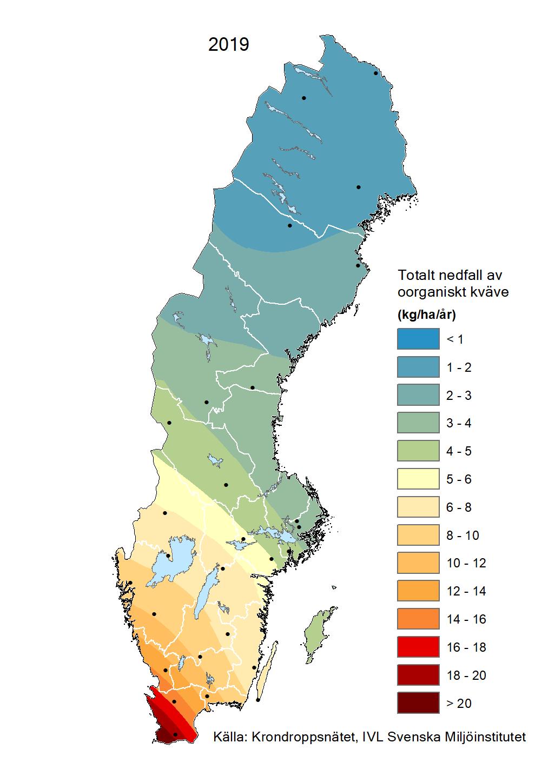 Totalt nedfall av oorganiskt kväve till barrskog 2019