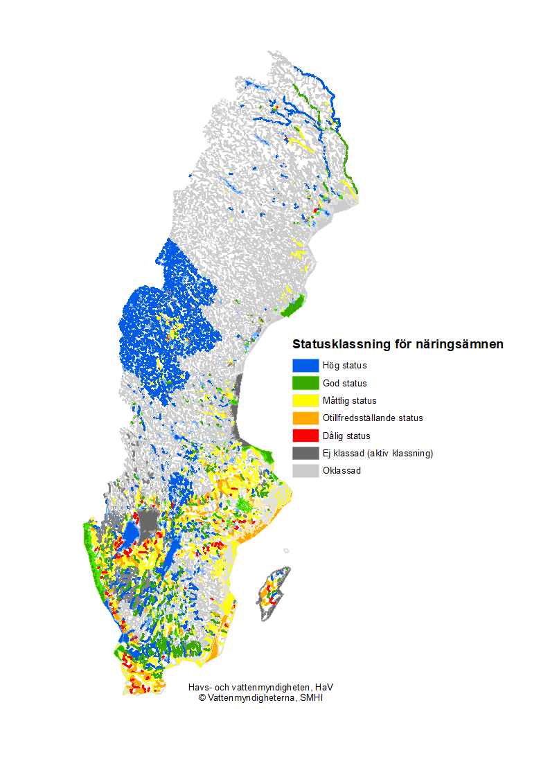 Status för näringsämnen i sjöar, vattendrag och kustvatten